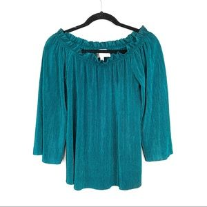 J.O.A. Emerald Off The Shoulder Pleated Top M